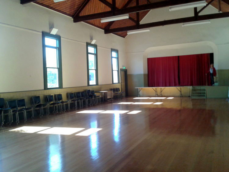 Hall – a large area with a polished floor and stage